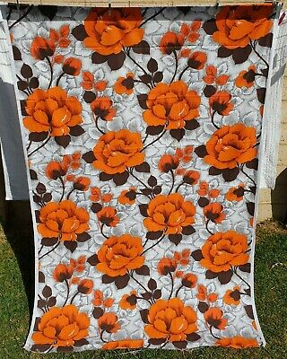 Vintage Cotton Fabric Orange Flowers