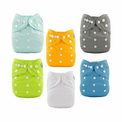 6-Pack Cloth Diaper One Size Adjustable Washable Reusable for Baby Girls & Boys