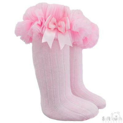 High knee ribbed Frilly Tutu socks Lace bow Spanish pink 18-24 months