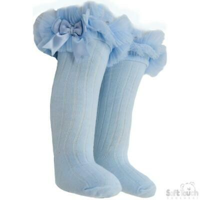 High knee ribbed Frilly Tutu socks Lace bow Spanish blue 18-24 months
