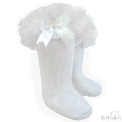 High knee ribbed Frilly Tutu socks Lace bow Spanish white 3-6 12-18 months