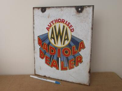 Genuine Enamel Sign  Vintage 'Awa Radiola' Authorised  Dealer /Shop Display