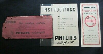 Circa 1940's Philips Radioplayers Envelope Warranty Form And Instruction Booklet