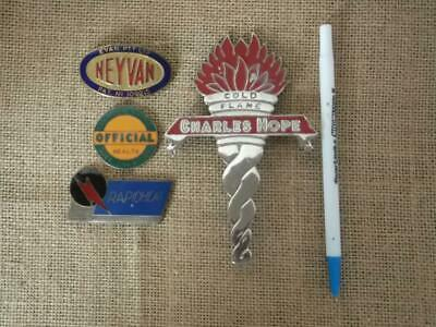 4 Assorted Collectable Old Enamel?  Badges / Cold Flame / Rapidheat/ Etc