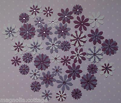 Card Flower Embellishments Grape, approx 40 pieces, with Rhinestones