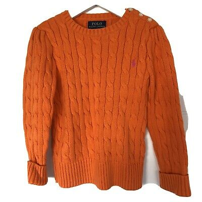 Ralph Lauren Girls Orange Sweater Jumper Brand New Without Tags Size 5