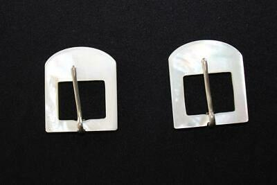 "Very Rare Deadstock 1930'S Solid Mother Of Pearl Belt Buckles 1 1/2"" X 1 1/2"""