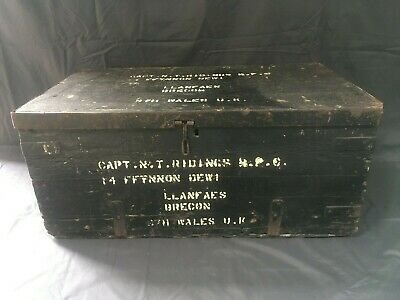 Vintage Military Chest Ebonised Wooden Box Trunk Coffee Table Storage