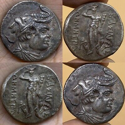 NRESEARCHED ANCIENT INDO-GREEK AR SILVER TETRADRACHM COIN 15.8Gr