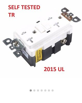 10  X 20A GFCI Receptacle Outlet w/Wallplate White Self-Test Safety 20 Amp UL