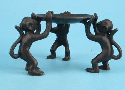 China Old Bronze Hand Casting Cute Monkey Statue Candlestick Gift Collec Old