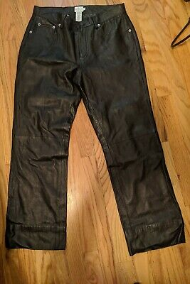 CALVIN KLEIN BUTTER SOFT BLACK LEATHER STRAIGHT LEG PANTS 10 Motorcycle