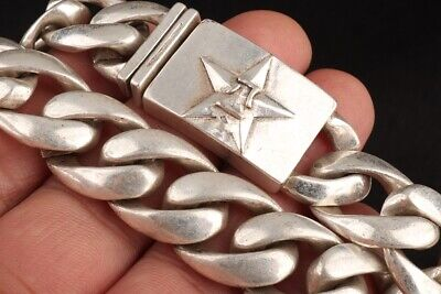 Retro China Tibetan Silver Bracelet Star Handicraft Old Collection Gift Decora