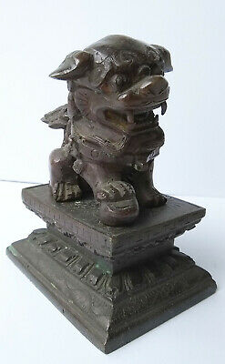 Antique Vintage Chinese Solid Bronze or Brass Guardian Foo Fu Dog Lion Statue
