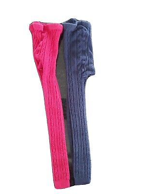 John Lewis 2 x Girls Cable Knit Footless Tights Leggings Age 7-8  Navy/Fuchsia