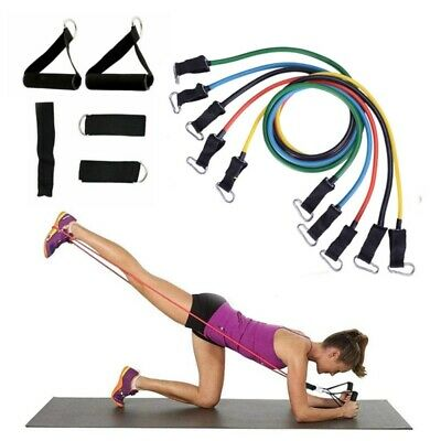 11pcs Fitness Resistance Tube Band Yoga Gym Stretch Pull Rope Exercise Bands set