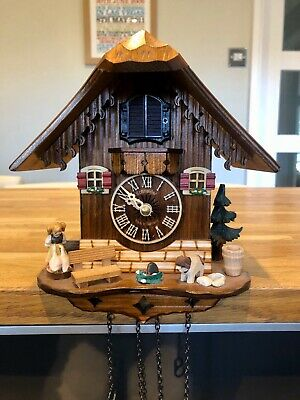 Schneider Quartz Musical Cuckoo Clock Black Forest Girl Geese & Dog