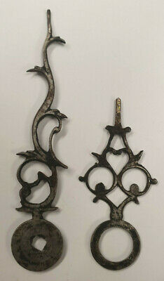NEAR PAIR OF 1750's SMALL STEEL ANTIQUE LANTERN/BRACKET CLOCK HANDS-NO RESERVE