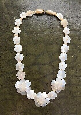 Antique 19th Century Victorian Carved Mother Of Pearl Flower Necklace