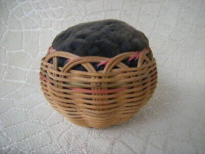 Antique Round Wicker Pin Cushion Excellent Condition