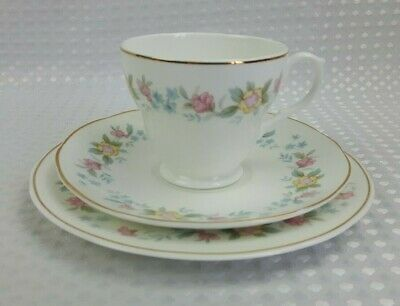 Mayfair Fine Bone China Coffee / Small Tea Trio - Floral Vintage Excellent