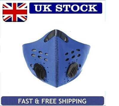 Blue Travel Pm2.5Anti Smog Pollution Face Mask Activated Carbon Filter Uk Stock