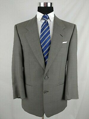 Yves Saint Laurent Gray Plaid Check Blazer Mens Wool Sport Coat Jacket 42R Slim