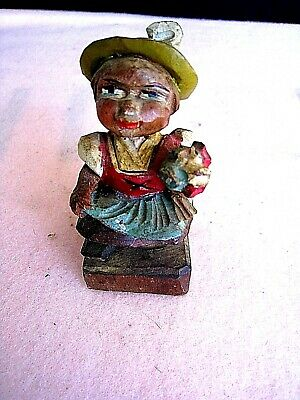 German/Austria hand carved & hand painted..... lady with flowers.....Antique
