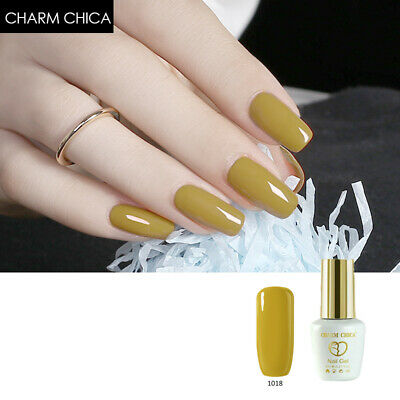 CHARM CHICA Elegant Drak Yellow Gel SoakOff UV Gel Nail Polish Varnish Nail Art