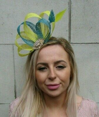 Teal Turquoise Blue Yellow Gold Fascinator Feather Sinamay Wedding Races 0174
