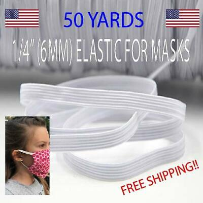 """WHITE WOVEN ELASTIC 1/4"""" (6MM) FOR SEWING, MASKS, DIY WASHABLE 50 YARDS 1/8 3mm"""