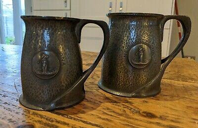 Pair Liberty and Co Tudric pewter Tankards By Oliver Barker