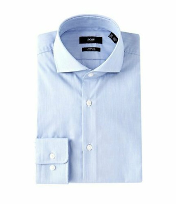 HUGO BOSS C-MABEL US RED LABEL DRESS SHIRT SHARP FIT HERRINGBONE BLUE-NWT