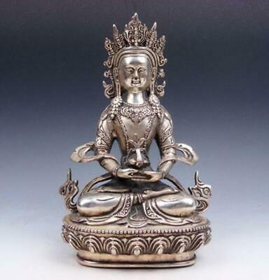 Tibetan Silver Plated Copper Crafted LARGE Long-Life Longevity Buddha /Te02