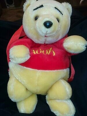 Disney Winnie The Pooh Plush Soft Toy Back Pack Official Nice Clean Condition