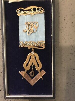 Masonic Medal 9ct Gold With A Diamond