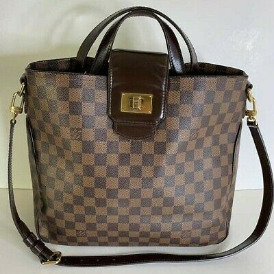 Authentic Louis Vuitton Cabas Rosebery Damier Ebene Canvas Satchel Shoulder Bag