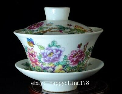 chinese old hand-made pastel porcelain hand painted peony flower cup b02