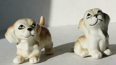 Dachshund Dog Figurines Set of 2 Ceramic-Porcelain Hand Painted White Brown-CUTE