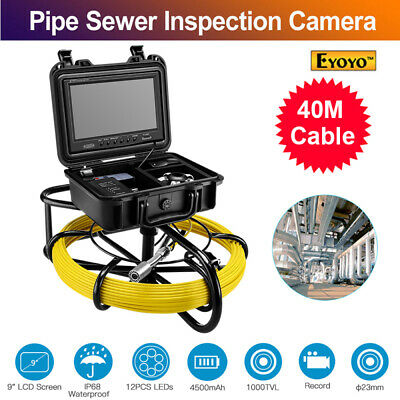 9Inch 40M 8GB DVR Video Pipe Endoscope Cleaner 1000TVL Waterproof Sewer Camera