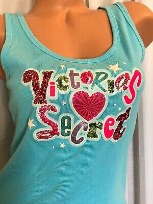 Victorias Secret VINTAGE Medium Tank Top Turquoise blue pink logo sequin bling