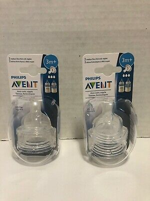 Clear Philips AVENT Anti-Colic Nipple 2 Pack Medium Flow