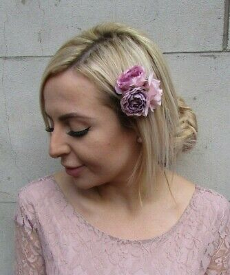 Blush Pink Light Mauve Lilac Triple Flower Hair Clip Fascinator Floral Rose 0183