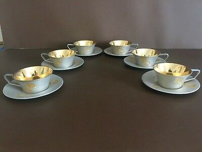 Russian Sterling Silver 875 Set of six Cups and Saucers.