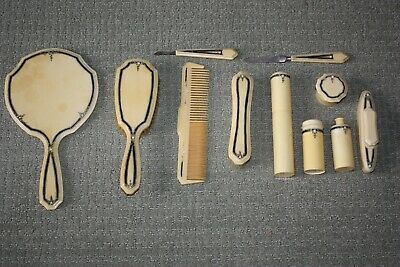 Vtg Antique French Ivory Celluloid Dresser Vanity Set Brush Mirror 11 Piece Lot