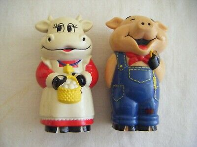 Pig and Cow 'oinking and mooing ' Salt and Pepper Shakers.1995