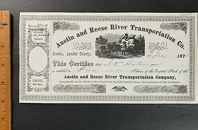 Stock Austin and Reese River Transportation Nevada 1878 Very Rare