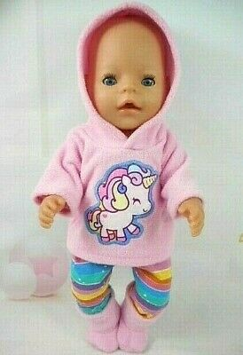 "Dolls clothes for 17"" Baby Born doll~BABY PINK UNICORN HOODIE~LEGGINGS~BOOTS"