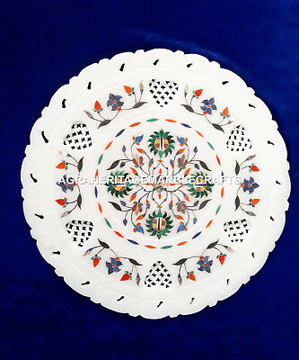 "9"" Indian Marble Round White Filigree Plate Malachite Multi Floral Inlaid H4089"