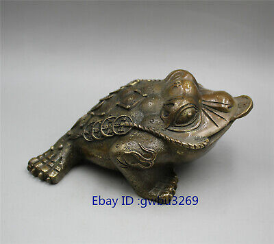 Folk collection old Chinese brass handwork statues Lucky toad wealth